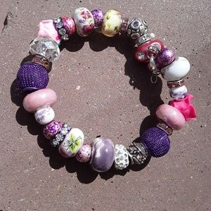 Jewelry - Pink and purple charm bracelete